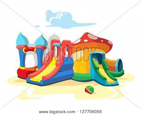 Vector illustration of inflatable castles and children hills on playground. Landscape Picture isolate on white background