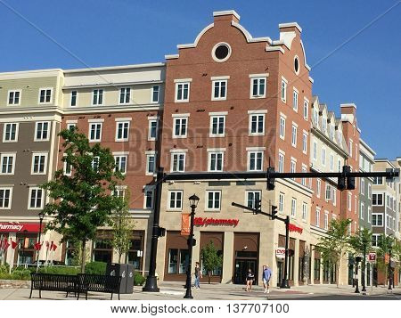 STORRS, CT - JUN 26: Town square at University of Connecticut (UConn) in Storrs, Connecticut, as seen on Jun 26, 2016. It was founded in 1881 and serves more than 30,000 students on its 6 campuses.