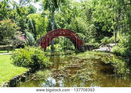 romantic chinese bridge in Bellingraths green Garden