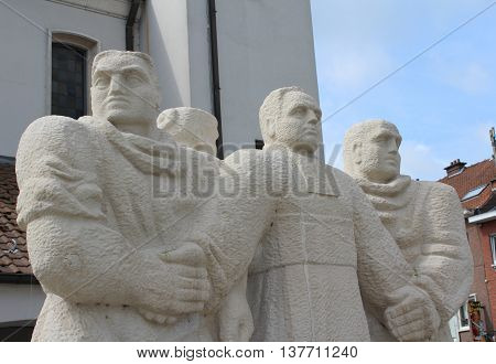 AALST, BELGIUM, JULY 9 2016: Statue to commemorate the Flemish priest Adolf Daens. He is known for his socio-political involvement and as founder of the Daensist movement. He is a local folk hero.