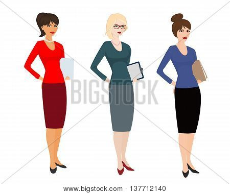 Highly skilled women on white background. Specialist in public relations pr manager. Isolated vector illustration. Horizontal location. poster