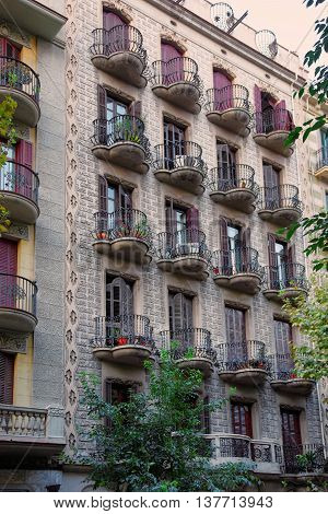 Building In Modernisme Style In The City Center In Barcelona