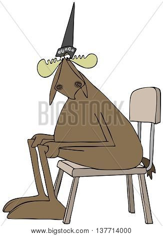 Illustration depicting a bull moose sitting in a chair and wearing a dunce cap.