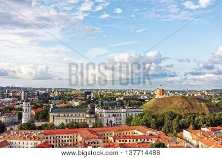 Upper Castle And Cathedral Square In Vilnius Of Lithuania