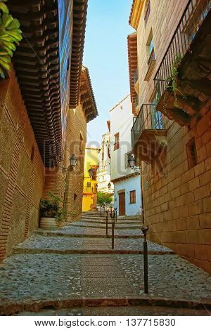 Street In Spanish Village On The Montjuic In Barcelona