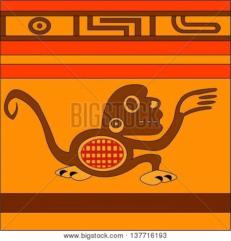 Monkey. Ethnic pattern of American Indians: Aztecs, Mayans, Incas. Vector illustration.