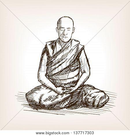 Buddhist monk meditation sketch style vector illustration. Old engraving imitation.