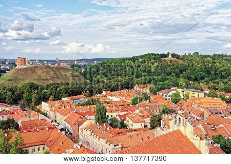 Upper Castle And The Hill Of Three Crosses In Vilnius