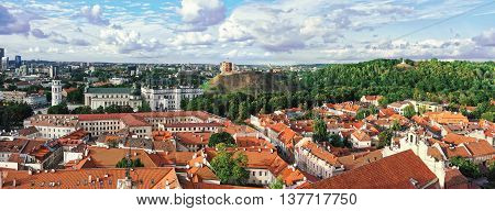 Panorama Of Upper Castle And Cathedral Square In Vilnius