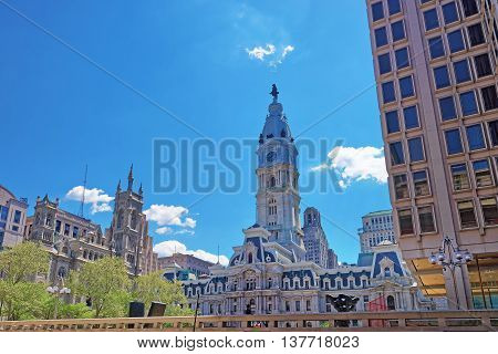 Philadelphia City Hall With William Penn Sculpture On Tower