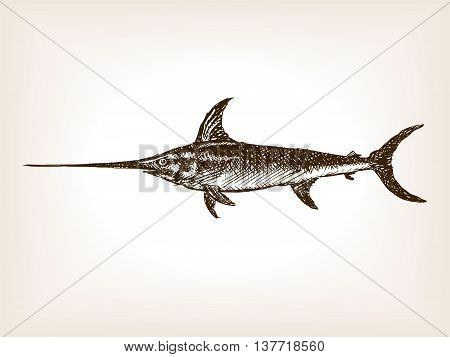 Swordfish sketch style vector illustration. Old engraving imitation.
