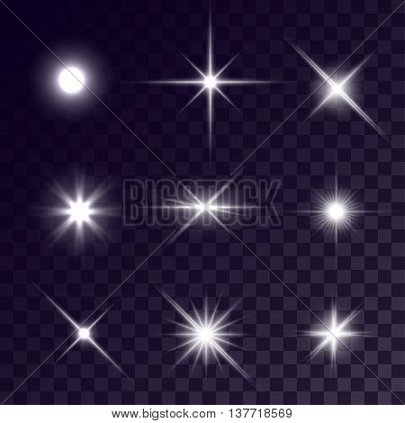 Vector starlights effects. White flashes set on transparent background. Release clipping mask for work.