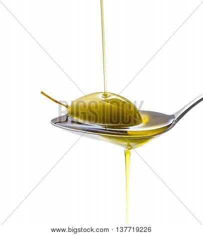 Green Olive In Full Oil Spoon, Isolated