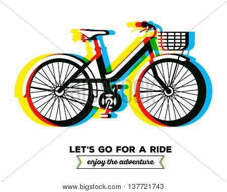 Vector illustration of colorful bicycle with basket and text let's go for a ride enjoy the adventure on white background. Bike adventure concept. Line art flat design of female bicycle riding on the bicycle and cycling theme