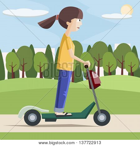 girl  on electric scooter at the city - colorful cartoon vector illustration