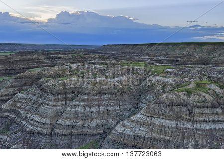 Drumheller Badlands in soft twilight Horsethief Canyon Alberta Canada
