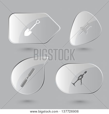 4 images: spade, push pin, chisel, hand drill. Angularly set. Glass buttons on gray background. Vector icons.