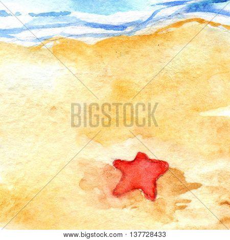 Watercolor summer travel beach sea shore seastar