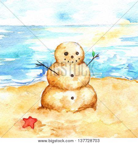 Watercolor summer travel beach sea shore sandman