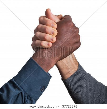 Black and white man make a multicultural handshake
