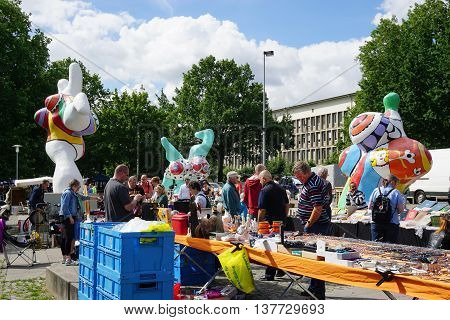 Hannover, Germany - July 9, 2016: Hannover flea market, taking place every Saturday, claims to be the oldest flea market in Germany.