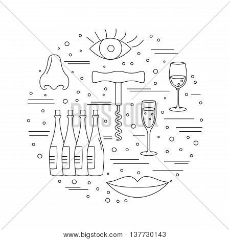 Round composition with winery symbols. Corkscrew, eye, lips, nose, wine glasses, wine bottles. Vector graphic design elements isolated on white background.