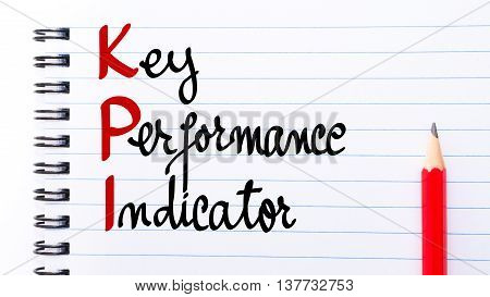 Kpi Key Performance Indicator Written On Notebook Page