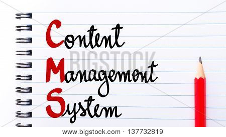 Cms Content Management System Written On Notebook Page