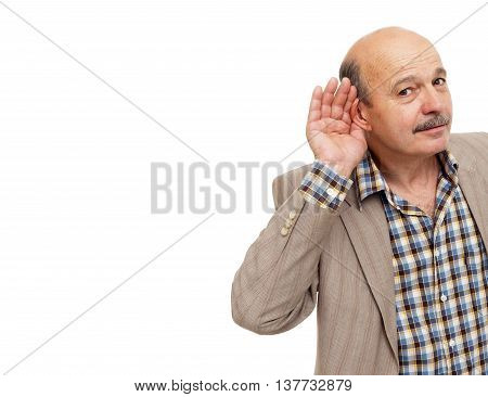 Elderly People With Hearing Loss Tries To Listen To The Sounds