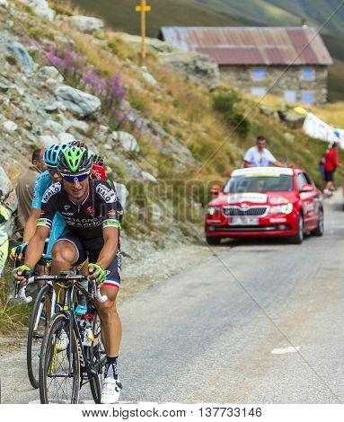 Col de la Croix de Fer France - 25 July 2015:The French cyclist Pierrick Fedrigo of Bretagne-Seche Environnement Team climbing to the Col de la Croix de Fer in Alps during the stage 20 of Le Tour de France 2015.