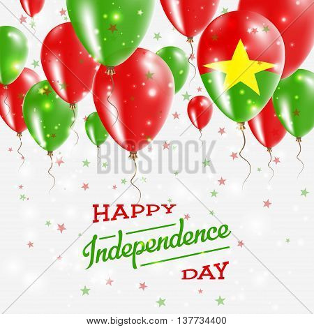 Burkina Faso Vector Patriotic Poster. Independence Day Placard With Bright Colorful Balloons Of Coun