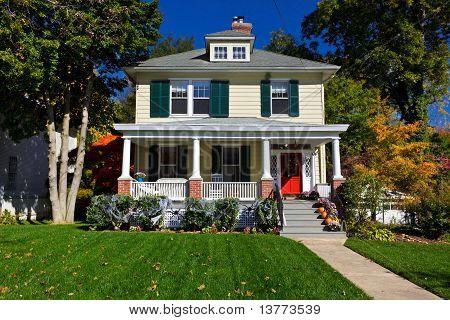 Suburban Single Family House Prairie Style Autumn