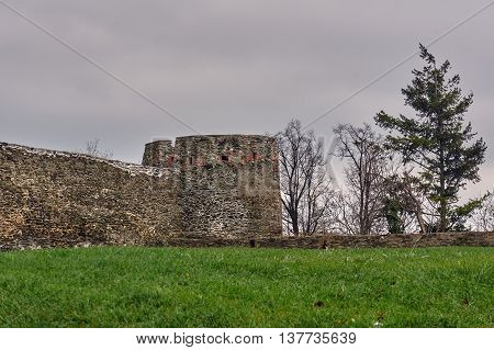 The stone ruins of a medieval castle in Bolkow in Poland