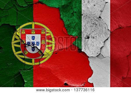 Flags Of Portugal And Italy Painted On Cracked Wall