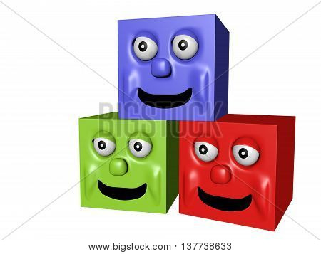 Three cubes with smile. 3D illustration isolated.
