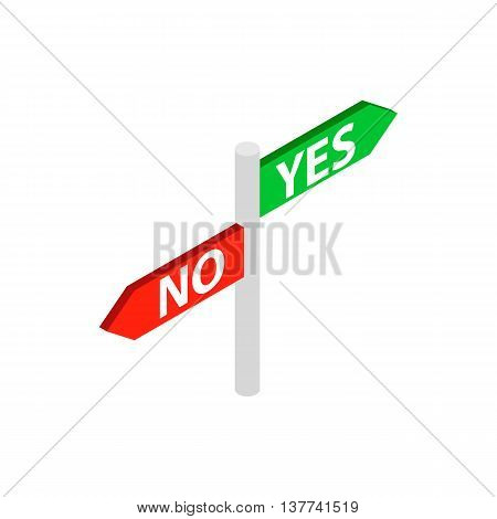 Sign yes no icon in isometric 3d style isolated on white background. Choise symbol