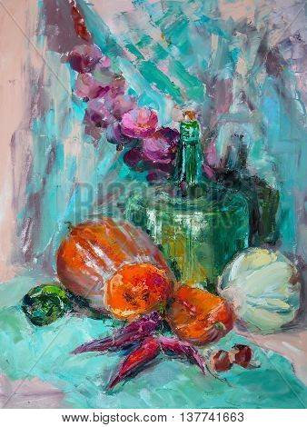 Oil Painting, Impressionism Style, The Texture Of Oil Painting, Flower Still Life Painting Art Paint