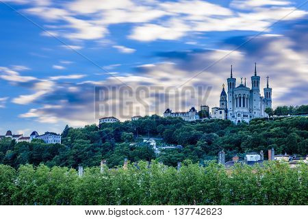 Basilica of Notre-Dame, Fourviere Hill in Lyon, France.