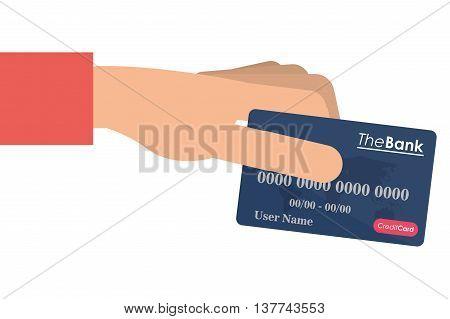 flat design hand holding credit or debit card icon vector illustration
