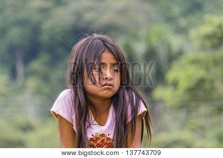 PUYO, ECUADOR, OCTOBER - 2015 - Portrait of amazonic indigenous ecuadorian kid with sad expression in Puyo Ecuador.