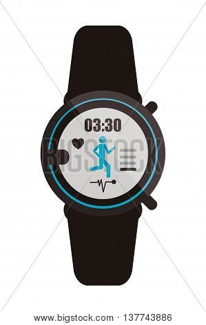 flat design heartrate wrist monitor icon vector illustration