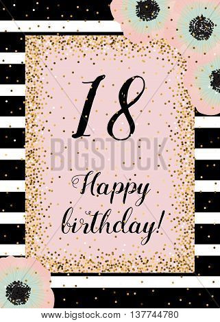 Cute happy birthday card with golden decoration black stripes and anemones. Dusty rose mint and gold. Template for all categories of invitation cards.