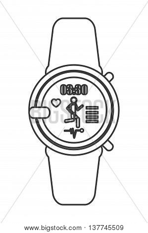 flat design heartrate wrist monitor icon vector illustration line design