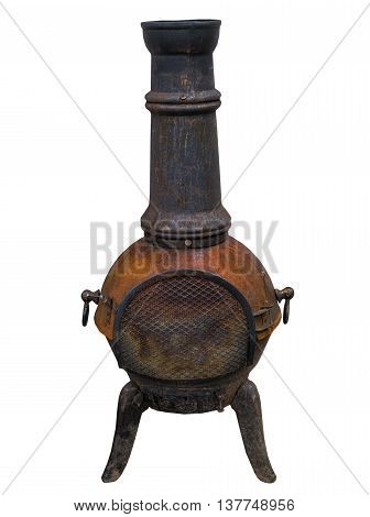 Potbelly stove on white background isolated .
