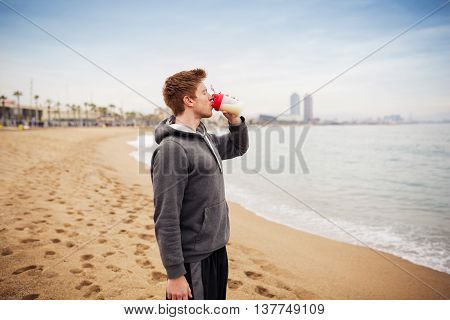 Sportsman Hydrating His Organism