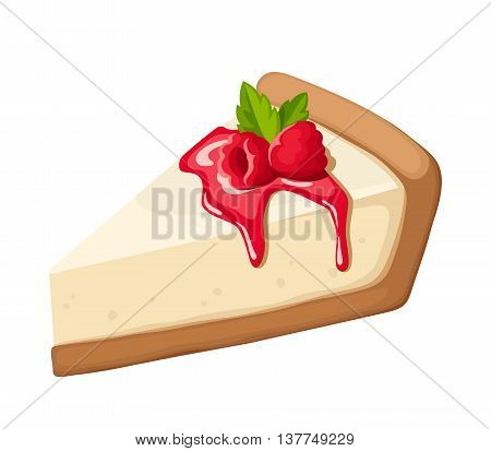 Vector piece of a cheesecake with raspberry, jam and mint leaves isolated on a white background.