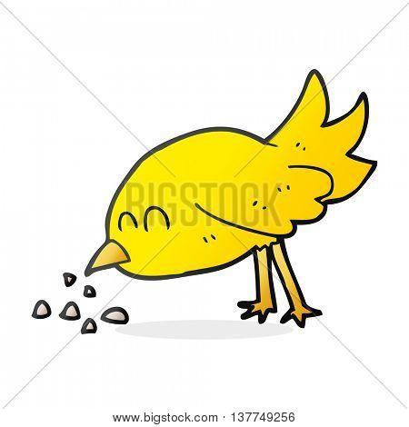 freehand drawn cartoon bird pecking seeds