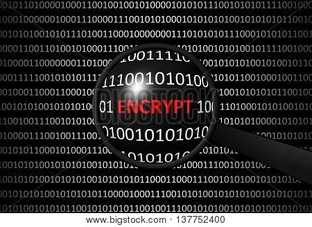 Binary Code With Encrypt And Magnifying Lens
