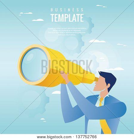 Creative business concept. Businessman holding spyglass, business visionary