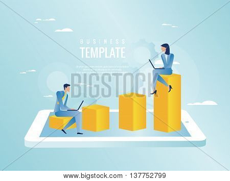 Efficiency evaluation concept, business people working, vector illustration